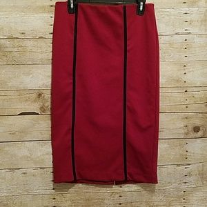 Red with black pencil skirt